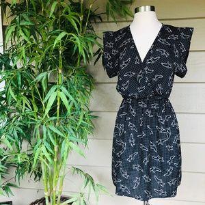 Everly Black w/ Bird Pattern Dress